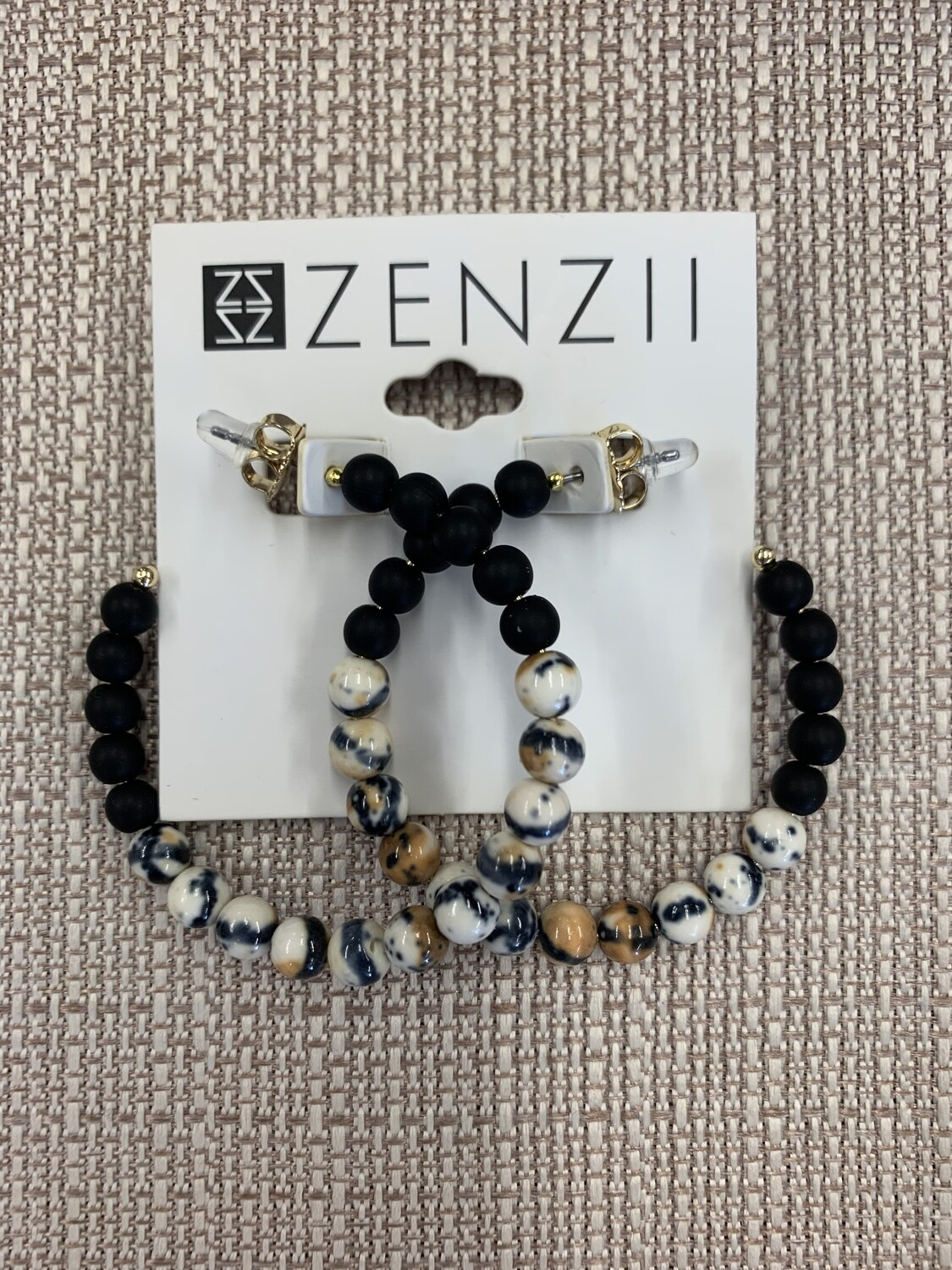 Zenzii Porcelain & Resin Beaded Hoop Earring
