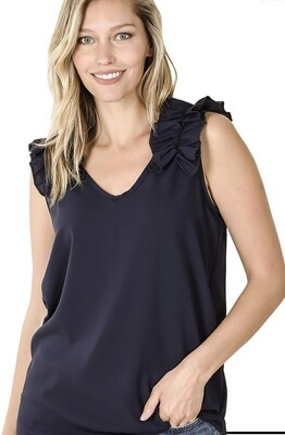 Zenana woven wool dobby ruffle trim sleeveless top