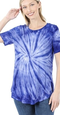 Zenana tie dye round neck short sleeve top