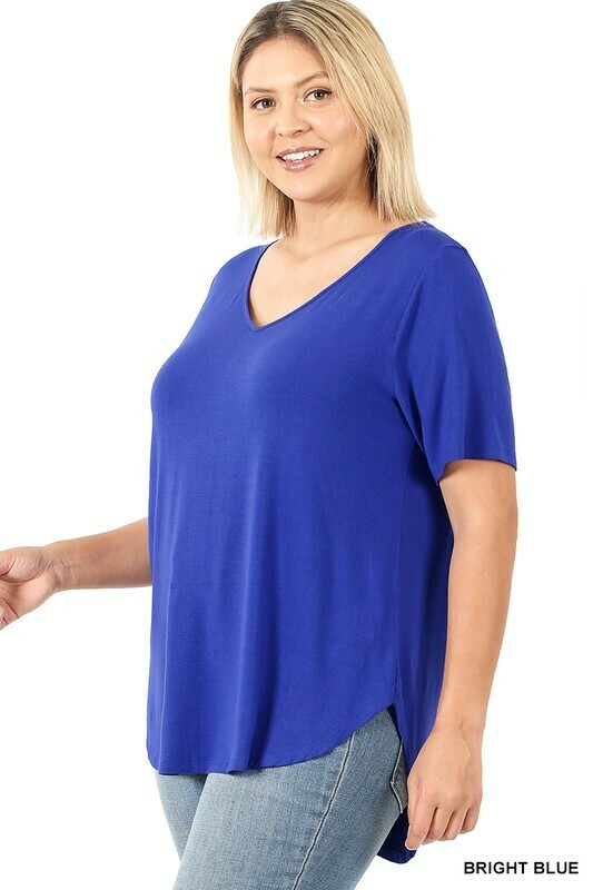 Zenana PLUS Real Modal SS Vneck HiLow Hem Top