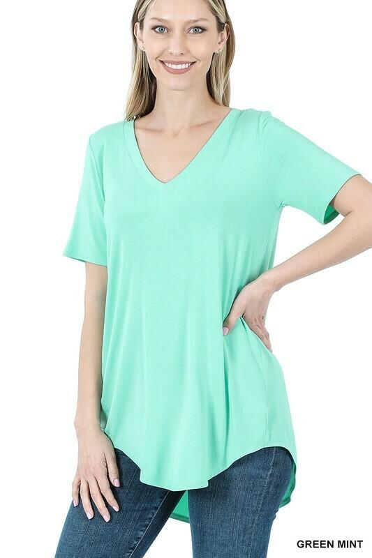 Zenana Luxe Rayon Short Sleeve Vneck HiLow Hem Top