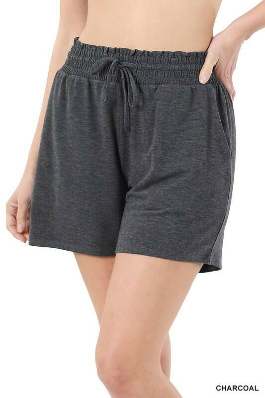 Zenana Drawstring Waist Shorts w/Pockets