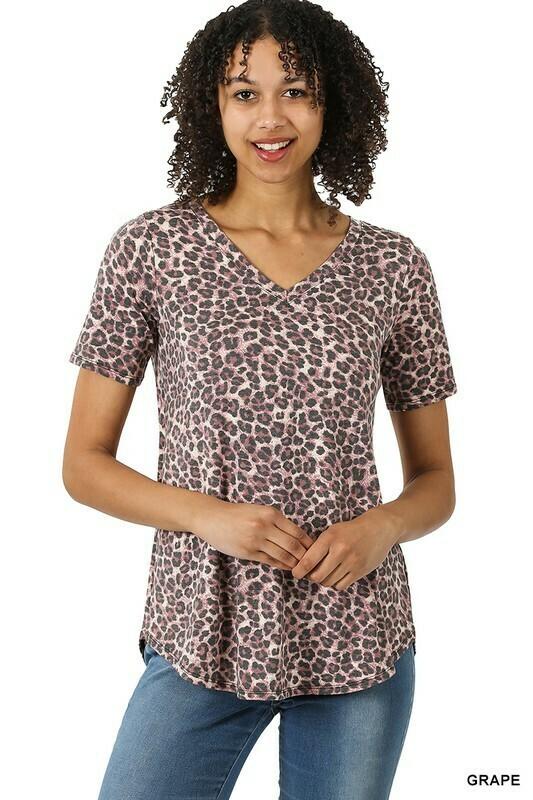 Zenana Leopard Vneck Round Hem HiLow Top