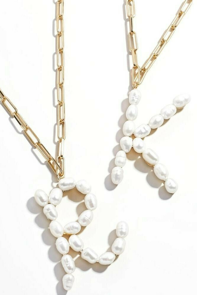 Pearl Initial Letter Gold Necklace