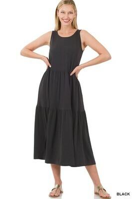Zenana Sleeveless Tiered Midi Dress