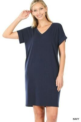 Zenana Rolled SS V-Neck Dress w/side Pockets