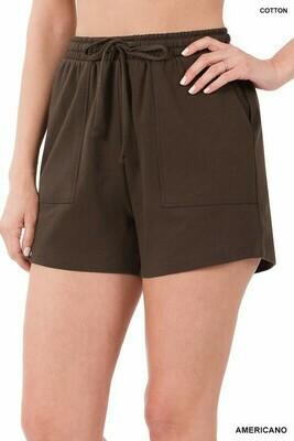 Zenana Cotton Drawstring Shorts