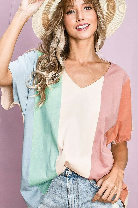 Bibi Cotton Color Block Top