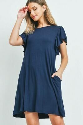 Perfect Peach Cap Sleeve Pocket Swing Dress