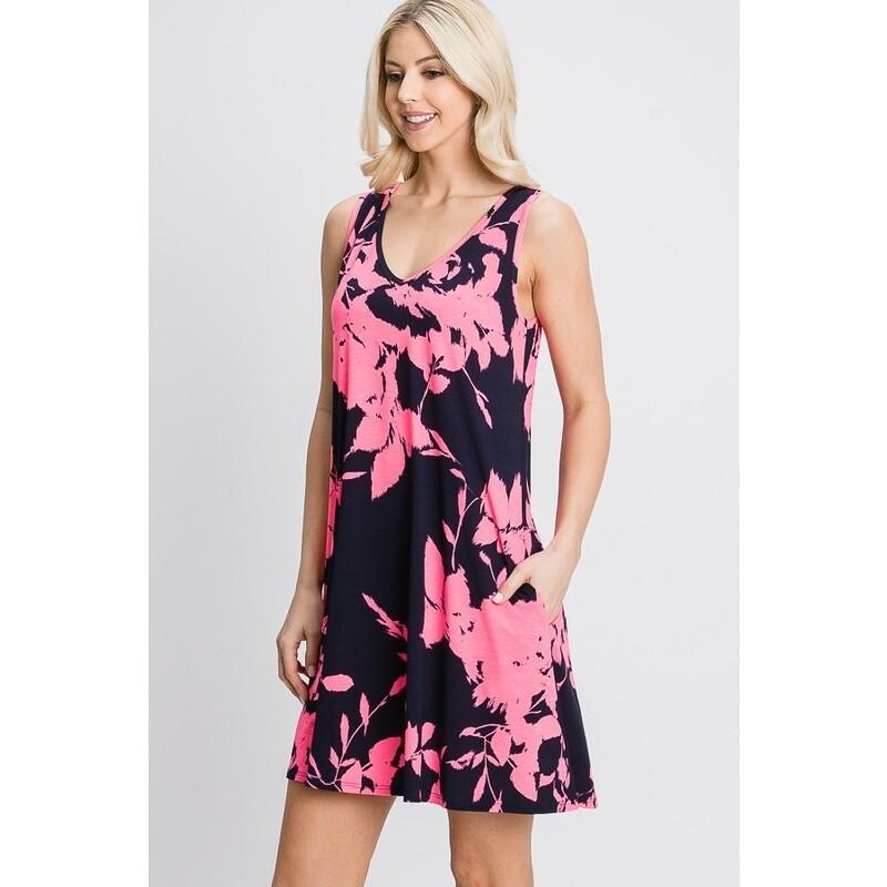 Heimish Navy/Neon Pink Floral Dress