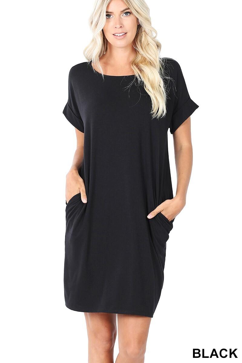 Zenana Rolled SS Round Neck Dress