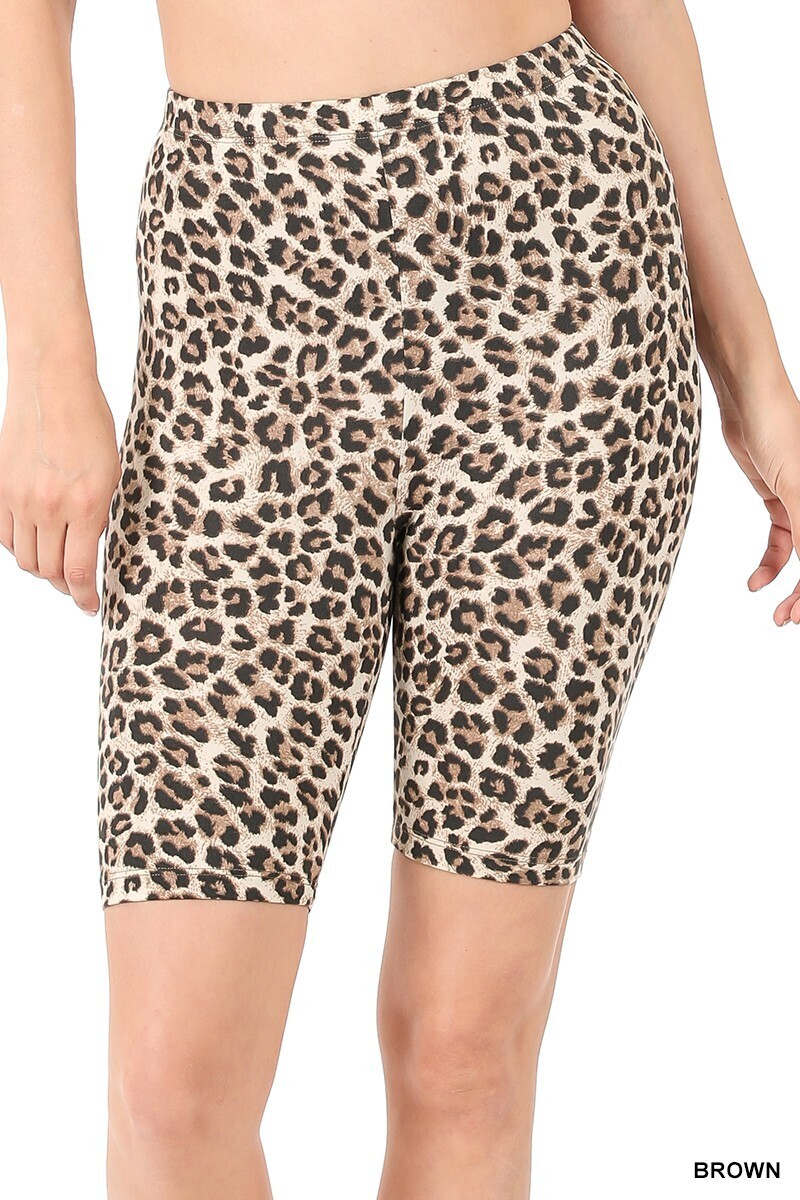 Zenana Leopard Biker Shorts