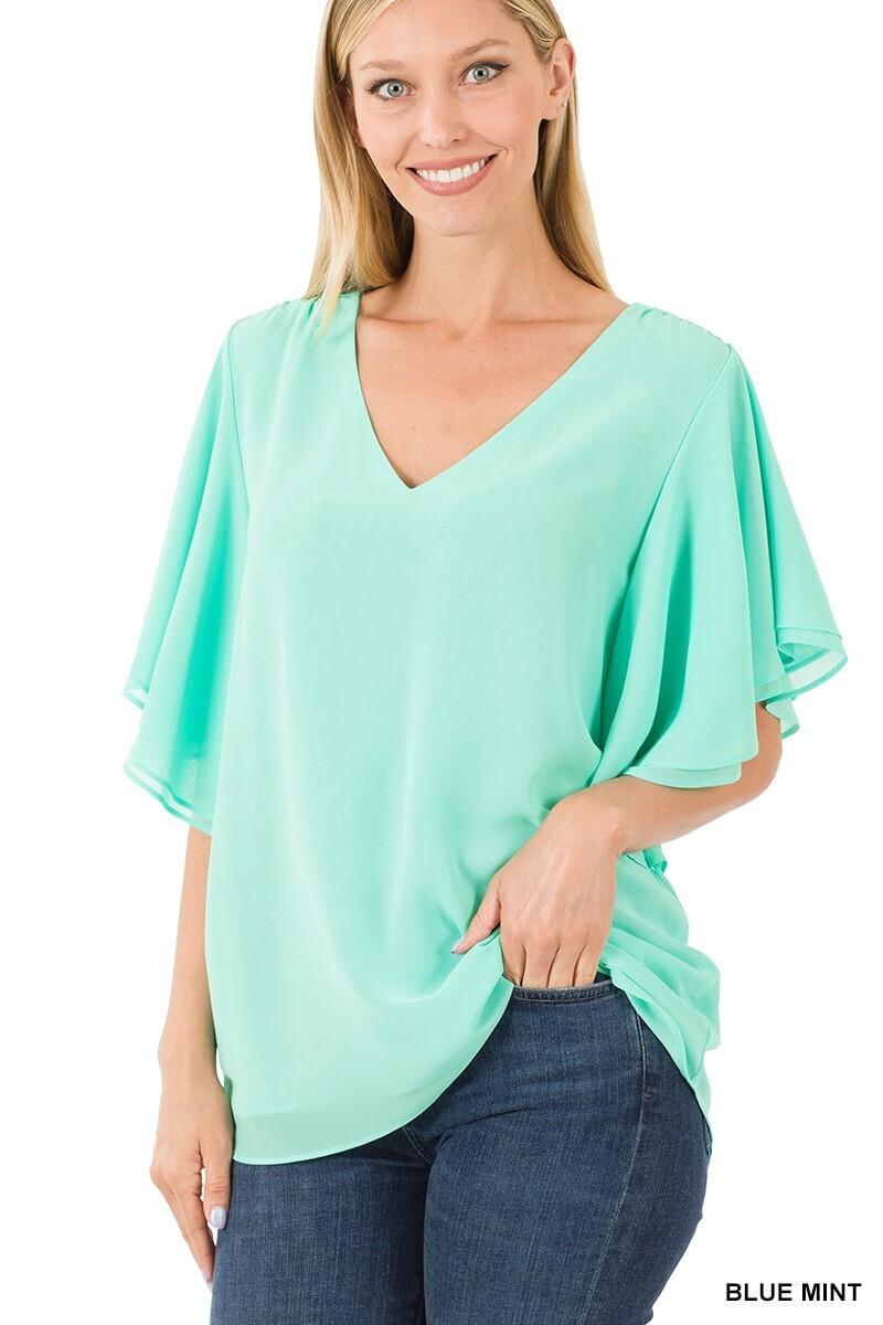 Zenana Double Layer Bell Sleeve Chiffon Top