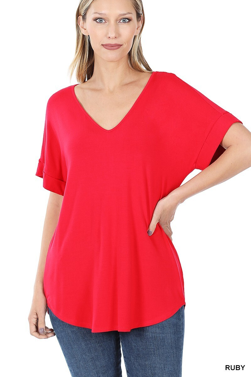 Zenana Cuff SS V-Neck Luxe Rayon Top