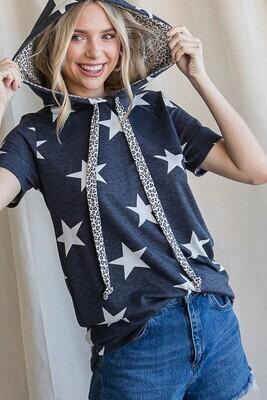 7th Ray Heather Navy Star Short Sleeve Hoodie