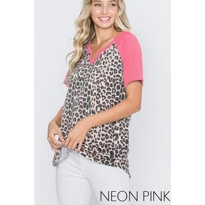 Heimish Neon Pink/Leopard V-Neck Top