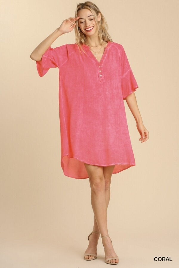 Umgee Mineral Washed Button Front Bell Sleeve Dres