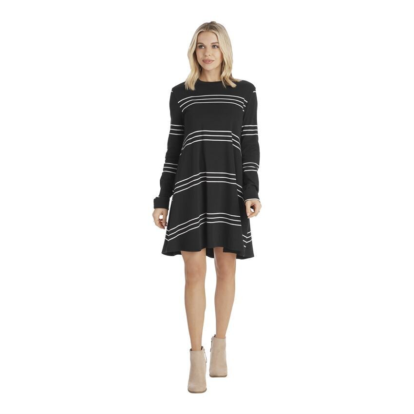Mud Pie Sia Swing Black/White Stripe Dress