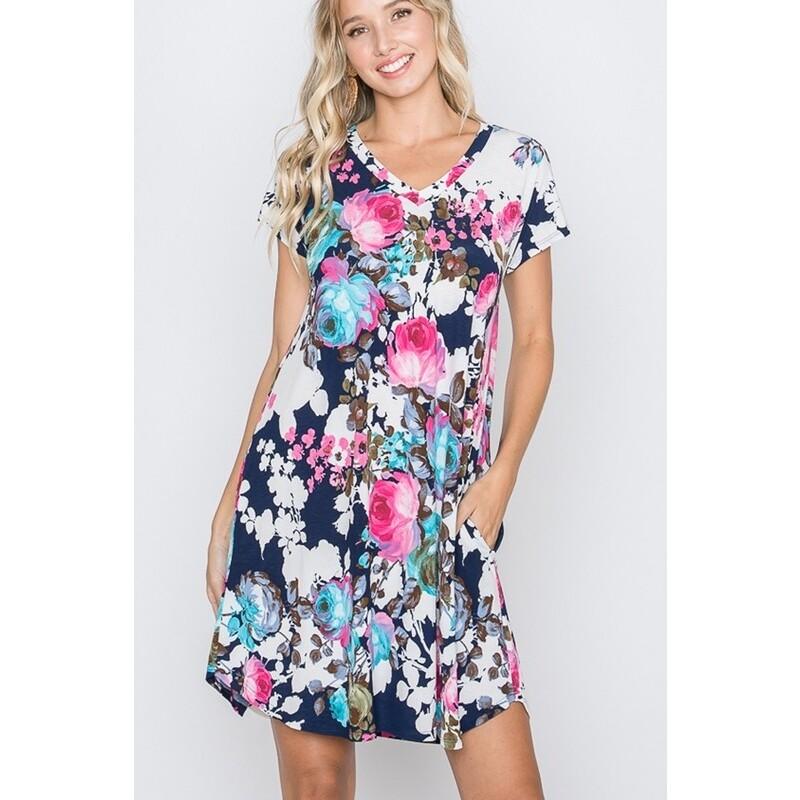 Heimish Navy Floral Swing Dress w/ pockets