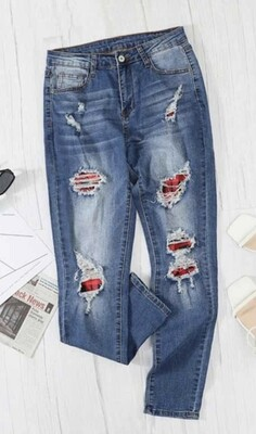 Distressed Splicing Jeans