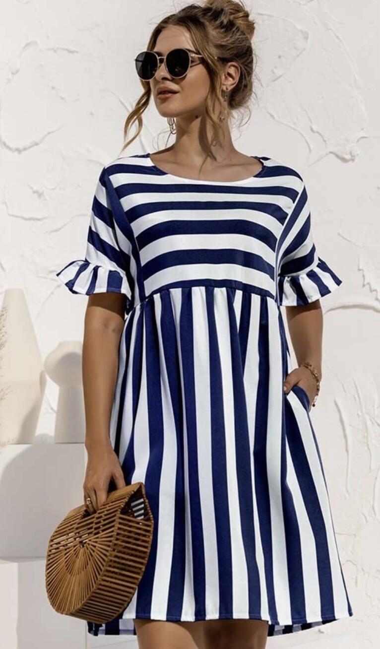 Sweet Striped Babydoll Dress
