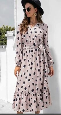 Dotty long sleeve Woven MIDI Dress
