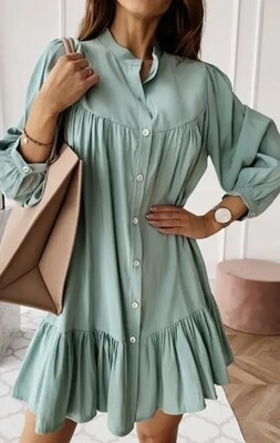 Trendy Tiered Long Sleeve Mini Dress