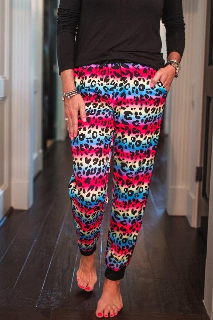 Jess Lea Multi Color Animal Print Joggers