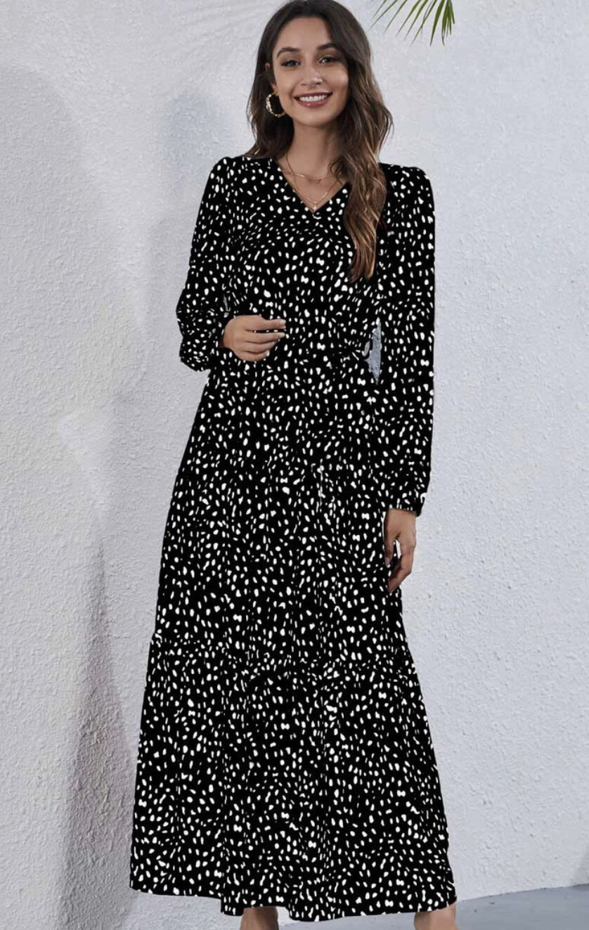 Casual Dotted Long Sleeves Maxi Woven Dress