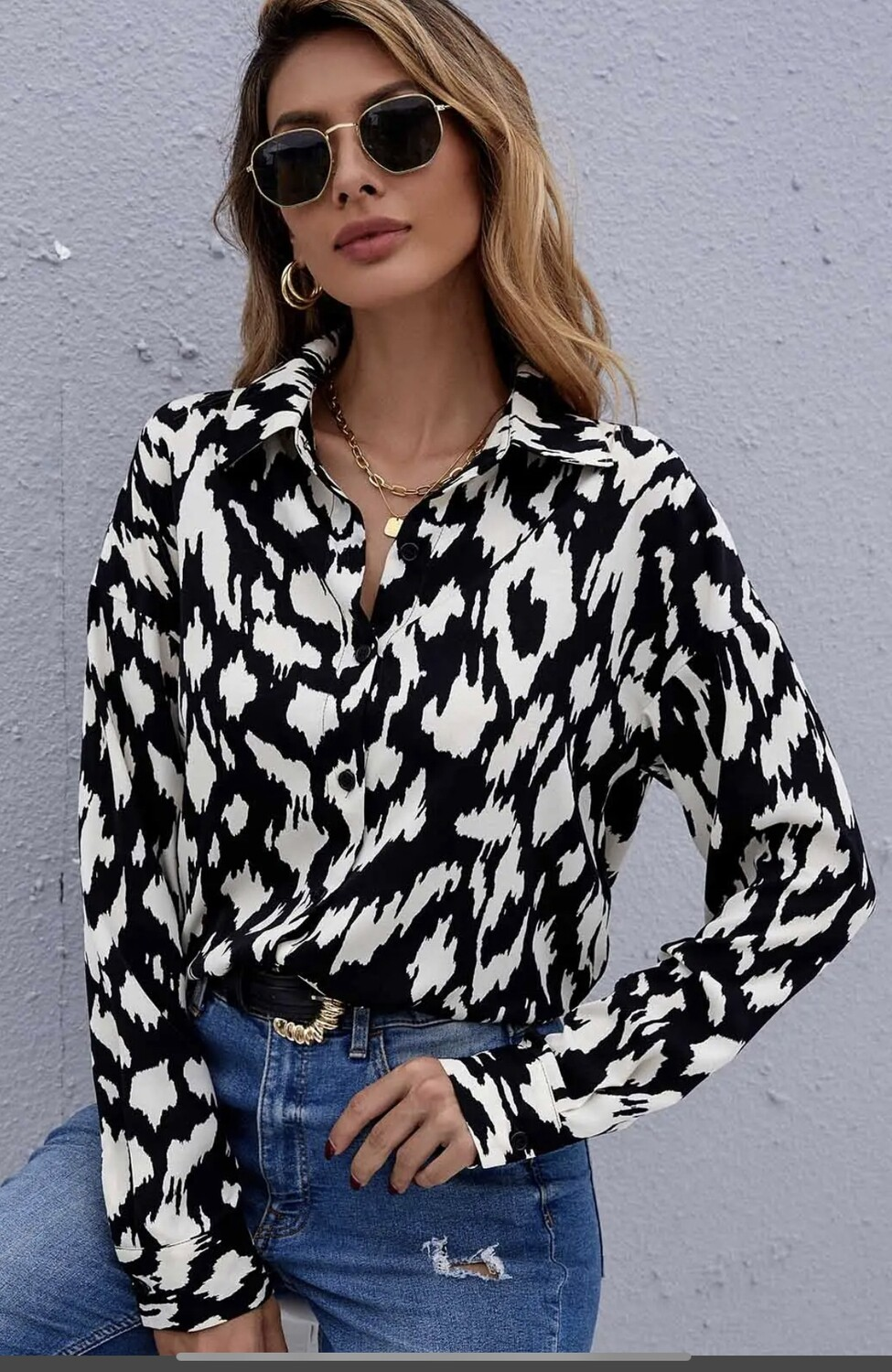 Chic Casual Long Sleeve Woven Blouse
