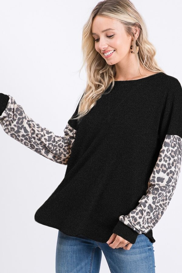 Heimish leopard long sleeve top