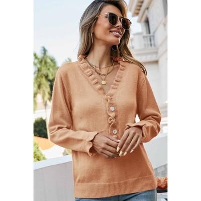 Ruffled V Neckline Sweater Top