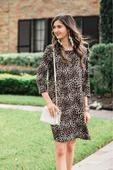 London 3/4 Sleeve Leopard Dress