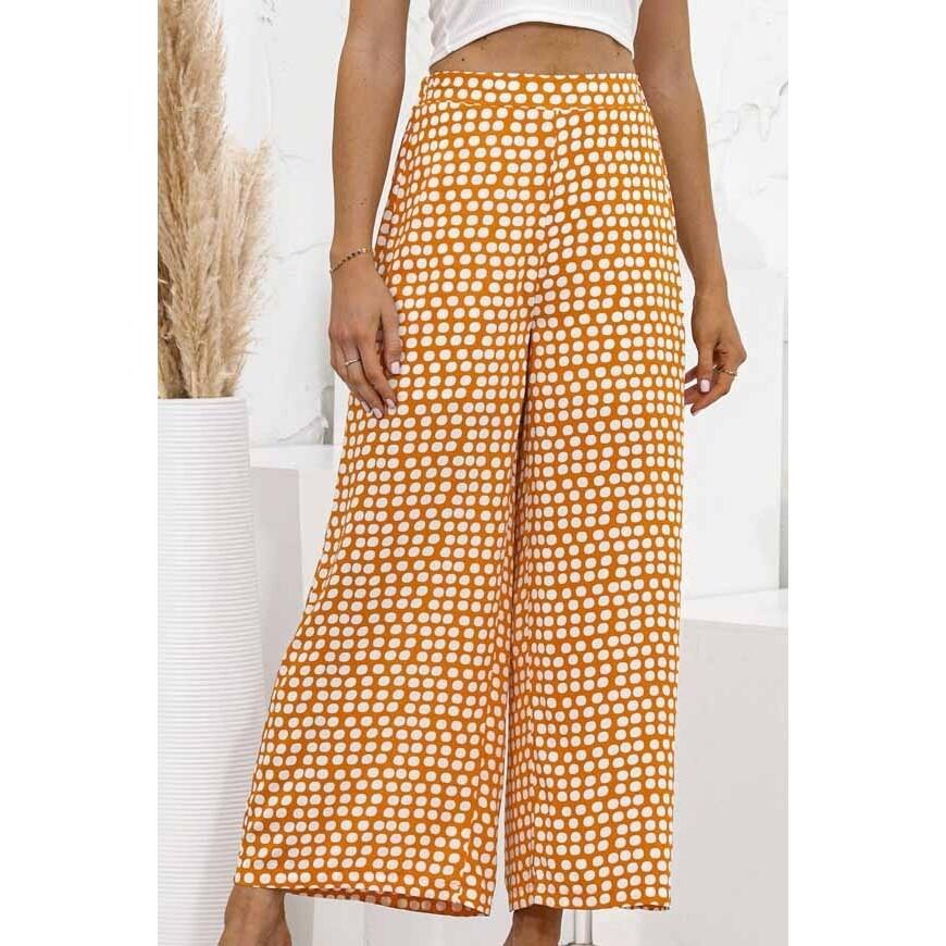 Polka Dot Print Wide Leg Pant