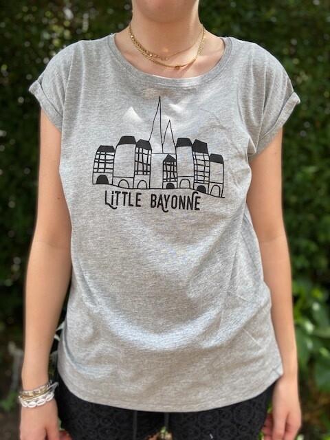 Tee-Shirt FEMME Gris Motif Bords de Nive