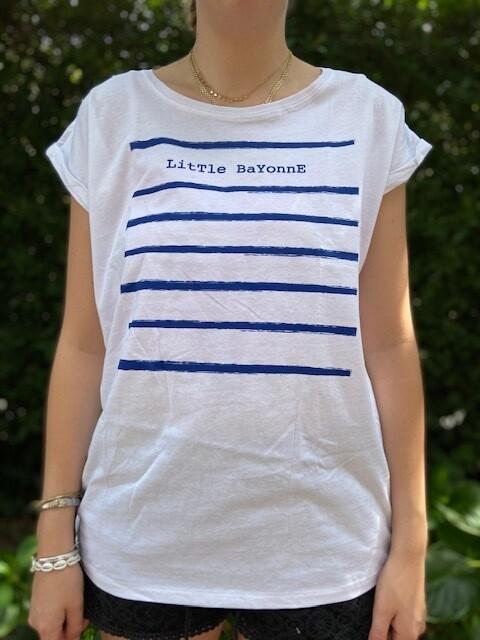 Tee-Shirt FEMME Blanc Motif LB Rayé