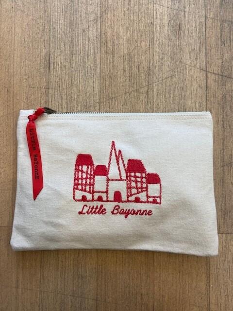 Pochette Brodée - Bords de Nive - Rouge