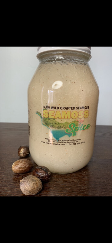 32 Oz Organic WILDCRAFTED Sea Moss Gel Infused With Cinnamon & Nutmeg Powder