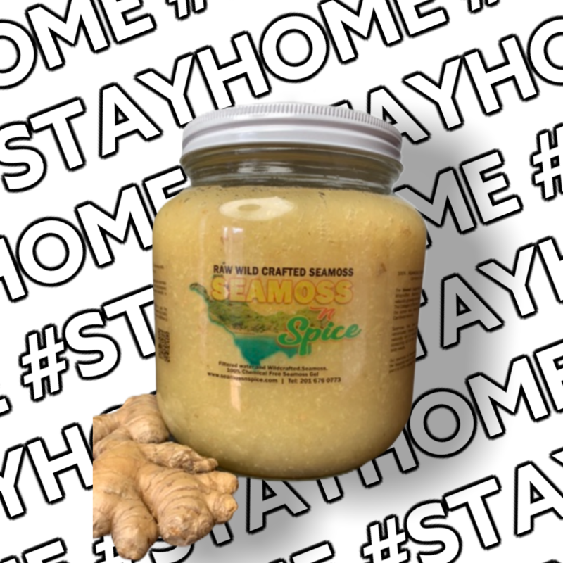64 Oz Organic WILDCRAFTED Sea Moss Gel Infused With Ginger