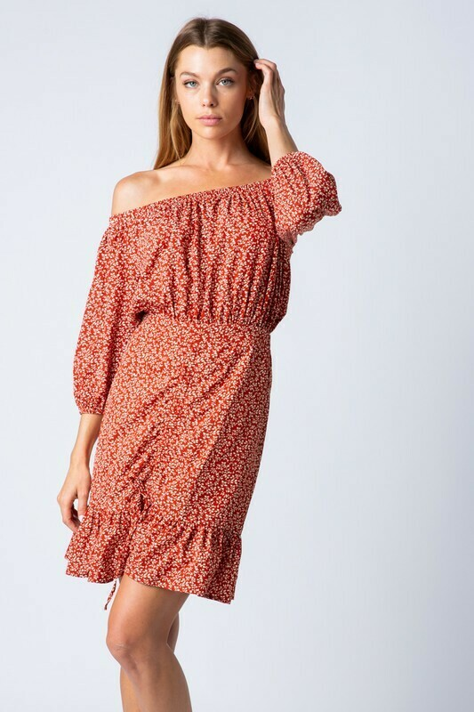 OFF SHOULDER DRESS WITH ROUCHING DETAIL
