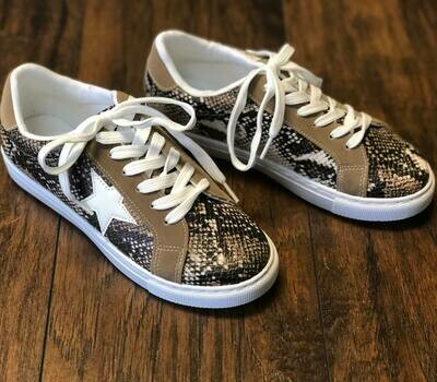 Snake Skin and Star Sneakers