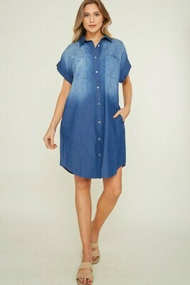 DENIM COLLAR SHIRT DRESS
