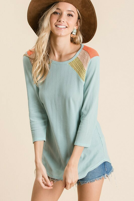 Solid knit fabric color block top