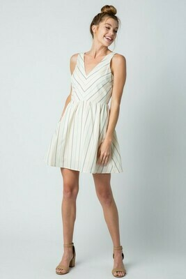 STRIPED A-LINE DRESS- IVORY