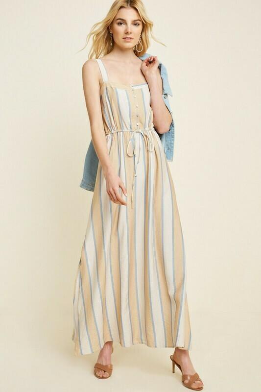 Striped Drawstring Maxi Dress