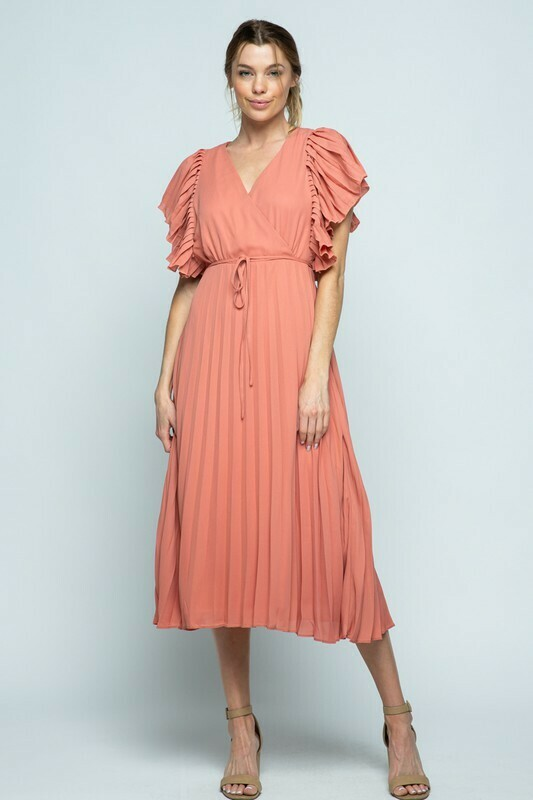 PLEATED SLEEVE MIDI DRESS