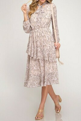 Ruffle Trim Ribbon Tie Snakeskin Midi Dress