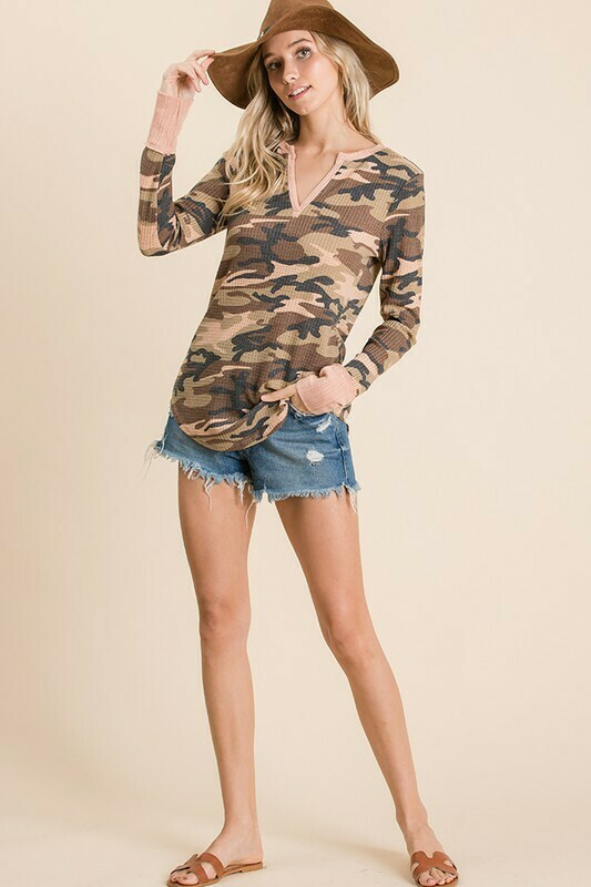 Camouflage print V- neck casual top