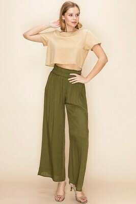 SMOCK WAIST WIDE LEGGED PANTS