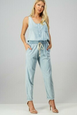 WASHED BUTTON FRONT DRAWSTRING JUMPSUIT